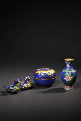 a group of chinese cloisonne enamel study items