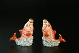 Chinese A Pair Of Famille Rose Porcelain Snuff Bottles