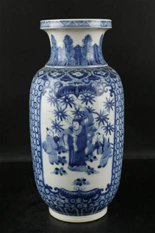 """Chinese Qing Dynasty Kangxi Blue And White """"Figure"""