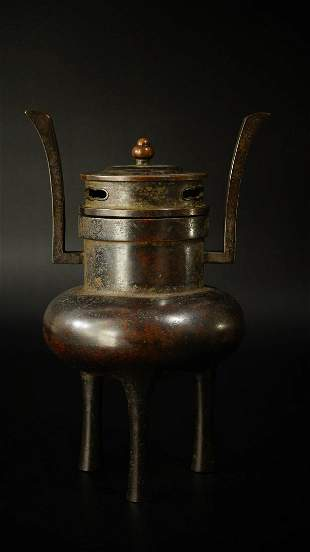 Chinese Ming Dynasty Xuande Bronze Incense Burner