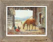 Vintage Kentucky Barn Animal Landscape Signed Painting