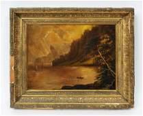 Antique American Hudson River School Landscape Painting