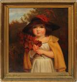Antique American School Portrait Young Girl Painting