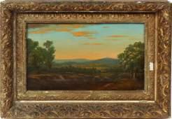 Antique Hudson River School Sunset Landscape Painting