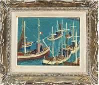 Paris Modern Marseille Boat Harbor Signed Oil Painting