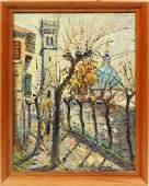Vintage Paris Mod Impressionist Cityscape Oil Painting