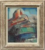 Antique Southwest Desert Mountain Signed Oil Painting