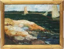Antique New England Gloucester Coastal Oil Painting