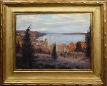 Antique Impressionist Hudson River Fall Oil Painting