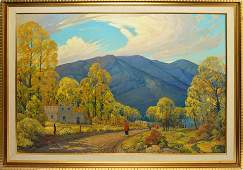 Huge Taos New Mexico Oil Painting Dwight Holmes Texas