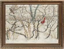 Donald Baker Listed Ohio Winter Snow Bird Oil Painting