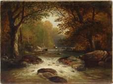Hudson River School Waterfall Landscape Oil Painting