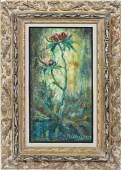 Tropical Flower Still Life American School Oil Painting