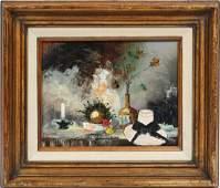 Vintage Paris Modern Still Life Oil Painting Signed