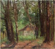 Antique American Impressionist Oil Sketch Tree Painting