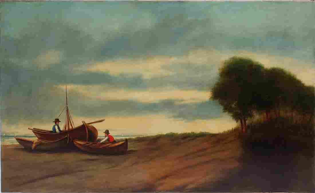 Antique Continental School Beach Seascape Oil Painting