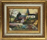French Modern Countryside Signed Original Oil Painting