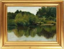 Antique Hudson River School Oil Paper Painting Sketch