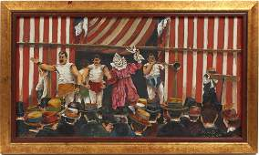 WPA Strong Man Coney Island Carnival Oil Painting