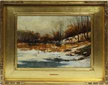 Charles Gruppe Signed Winter Impressionist Oil Painting