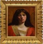 Antique American School Woman Portrait Gold Leaf FRAME
