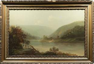 Large Hudson River School Oil Painting Landscape