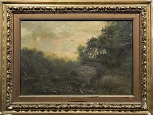 Robert Pyne Antique Sunset Signed Oil Landscape