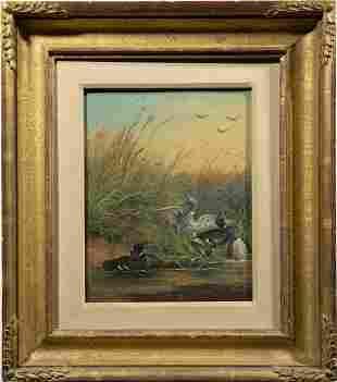 Antique American Sporting Art Ducks Oil Painting