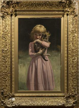 John Dolph Signed Oil Painting Cat & Child