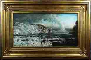 Peter Cameron Niagara Falls in Winter Oil Painting