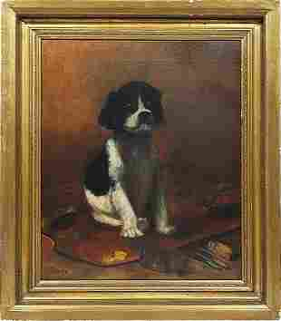 Antique American Animal Dog Portrait Oil Painting