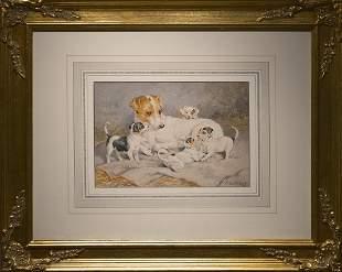 Charles Burton Barber Signed Dog Animal Rare Painting