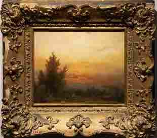 Antique Hudson River School Masterpiece Sunset Painting