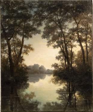 Antique  Rare Tonalist Misty Lake Morning Oil Painting