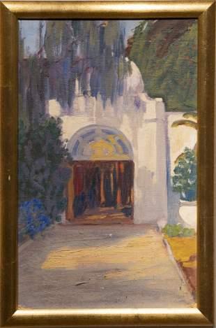 Antique Orientalist Oil Painting Doorway Sketch