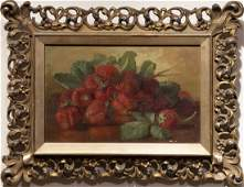 Antique American Fruit Still Life Strawberry Painting