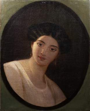 Antique American School Portrait Painting Young Woman
