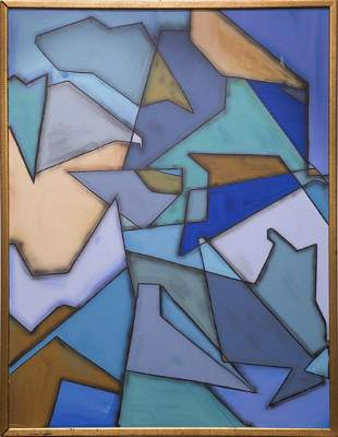 Blue Toned Geometric Abstract Original Oil Painting