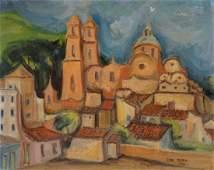 Antique European Modernist Village Landscape Painting