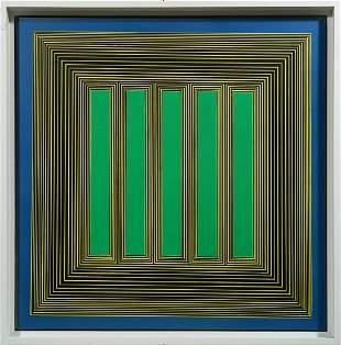 Geometric Abstract Mid Century Modern Vintage Painting