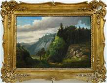 Antique Hudson River School Panoramic Oil Painting