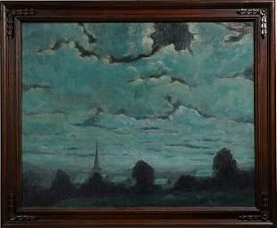 Moonlit Nocturnal Tonalist Cloud Cityscape Oil Painting
