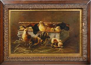 Antique American Animal Portrait Baby Chicken Painting