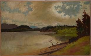 Antique Hudson River School Plein Aire Mountain Sketch