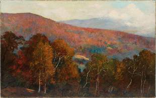 Att. John Enneking Fall American Landscape Oil Painting