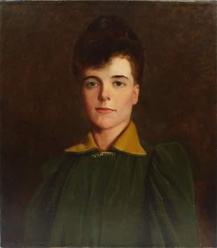 Antique American School Ashcan Woman Portrait Painting