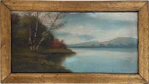Antique Hudson River School Landscape Gilded Oak Frame