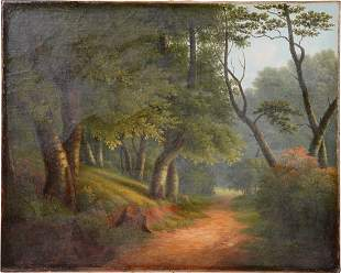 Antique American Hudson River School Forest Painting