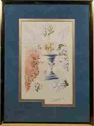 Salvador Dali Adam and Eve Surreal Signed  Etching