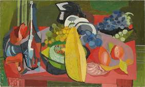 Antique American Modernist Cubist Still Life Painting